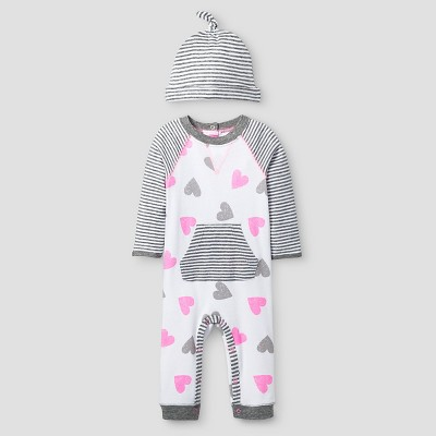 Baby Girls' 2 Piece Heart Coverall Set Baby Cat & Jack™ - Pink/Heather Grey NB