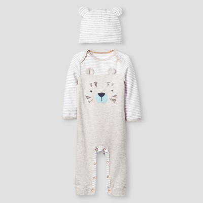 Baby Boys' 2 Piece Tiger Coverall Set Baby Cat & Jack™ - Oatmeal Heather/White 6-9M