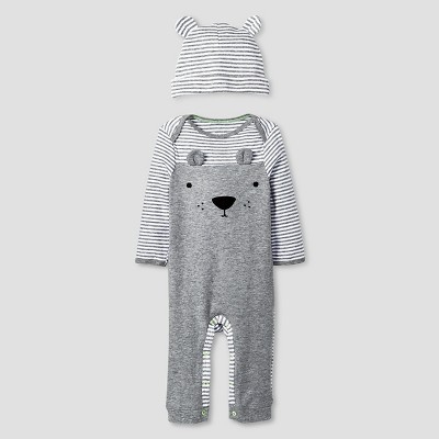 Baby 2 Piece Bear Coverall Set Baby Cat & Jack™ - Heather Grey/Ebony 6-9M