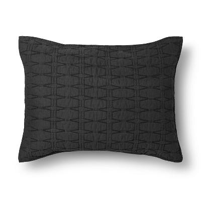 Relaxed Wash Diamond Stitch Pillow Sham Standard Black - Threshold™