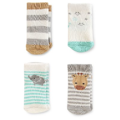 Just One You™Made by Carter's® Baby 4 Pack Computer Socks - Grey/Green/White 0-3M