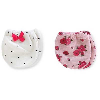 Just One You™Made by Carter's® Baby Girls' 2 Pack Floral Mittens - Pink/White NB