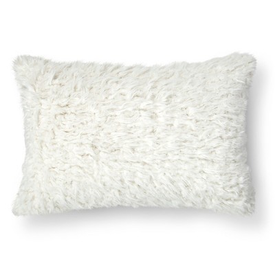 "Shearling Oblong Decorative Pillow (14""x20"") Cream - Threshold™"