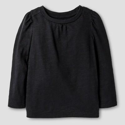 Baby Girls' Long Sleeve Solid Tee Black 12M - Cat & Jack™