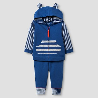 Baby Boys' Star Jogger Set Baby Cat & Jack™ - Navy/Heather Grey 0-3M