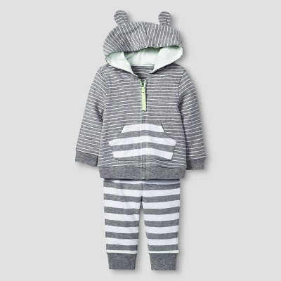 Baby 2 Piece Jogger Set Baby Cat & Jack™ - Heather Grey/White 3-6M