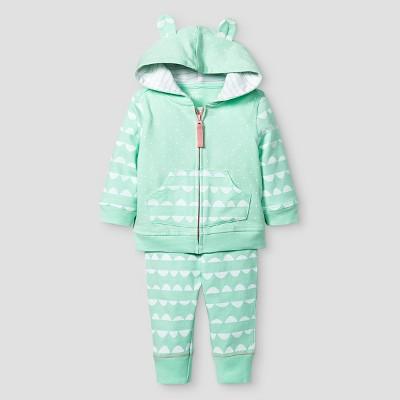 Baby Girls' 2 Piece Jogger Set Baby Cat & Jack™ - Aquamint/White 0-3M