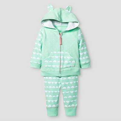 Baby Girls' 2 Piece Jogger Set Baby Cat & Jack™ - Aquamint/White 6-9M