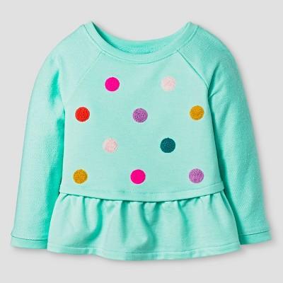 Baby Girls' Long Sleeve Raglan Polka Dot Sweatshirt Green 12M - Cat & Jack ™