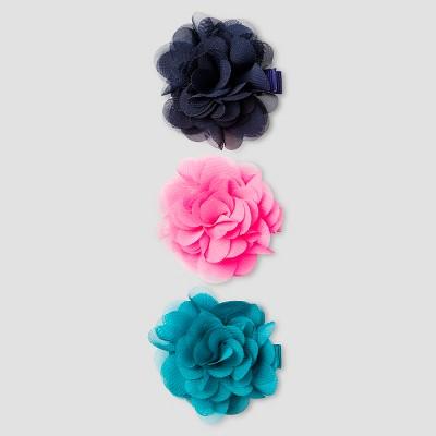 Girls' 2 pk Chiffon Flower Hair Clips Cat & Jack™ - Navy/ Pink