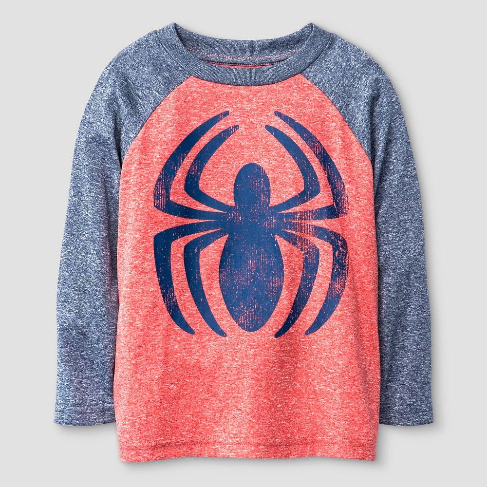 Toddler Boys' Spiderman Long Sleeve Raglan T-Shirt - Blue & Red 2T, Toddler Boy's, Red & Navy