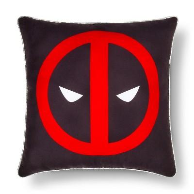 "Deadpool® Faces Decorative Pillow (15""x15"") Black&Red - Marvel®"