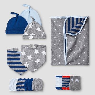 Baby Boys' Hat,Mitten,Bib,Sock,Blanket Set Baby Cat & Jack™ - Navy/Heather Grey