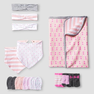 Baby Girls' Headwrap,Mitten,Bib,Sock, Blanket Set Baby Cat & Jack™ - Pink