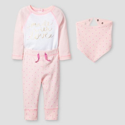 Baby Girls' 3 Piece Made with Love Set Baby Cat & Jack™ - Pink 0-3M