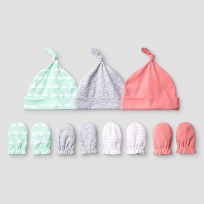 Baby Girls' 3 Pack Hat, 4 Pack Mitten Set Baby Cat & Jack™ - Coral/Aquamint