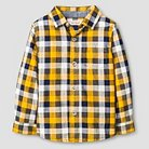 Toddler Boys' Button Down Shirt Cat & Jack™ - Navy & Yellow Plaid