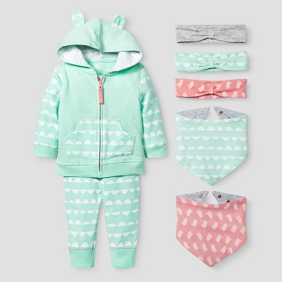 Baby Girls' Jogger, Headwrap and Bandana Bib Set Baby Cat & Jack™ - Coral/Aquamint 3-6M