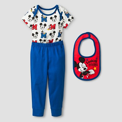 Disney® Mickey Mouse Baby Boys' 3 Piece Bodysuit, Bib & Pant Set - Blue 3-6M