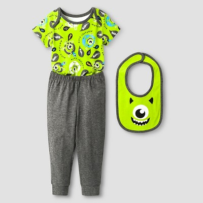 Disney® Monsters Inc. Baby Boys' 3 Piece Bodysuit, Bib & Pant Set - Grey 0-3M