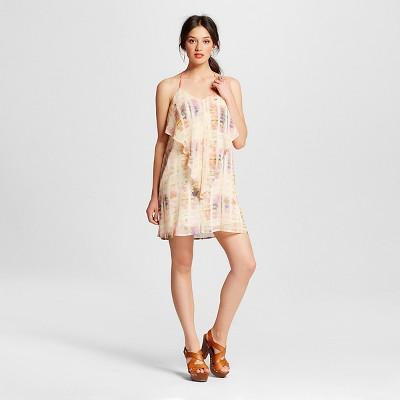 Women's Cream Printed Flutter Dress Natural L - Xhilaration™ (Juniors')