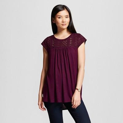 Women's Lace Top Atlantic Burgundy M - Merona™