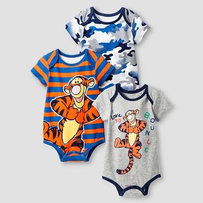 Disney® Tigger Baby Boys' 3 Piece Bodysuit Set - Orange 3-6M