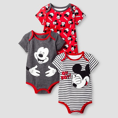 Disney® Mickey Mouse Baby Boys' 3 Piece Bodysuit Set - Red 3-6M