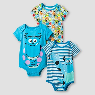 Disney® Monsters Inc. Baby Boys' 3 Piece Bodysuit Set - Blue 0-3M