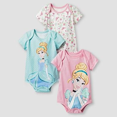 Disney® Cinderella Baby Girls' 3 Piece Bodysuit Set - Blue 6-9M