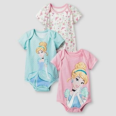 Disney® Cinderella Baby Girls' 3 Piece Bodysuit Set - Blue 0-3M