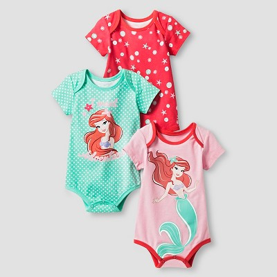 Disney® Ariel Baby Girls' 3 Piece Bodysuit Set - Green 0-3M