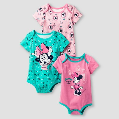 Disney® Minnie Mouse Baby Girls' 3 Piece Bodysuit Set - Pink 0-3M