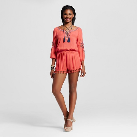 Women's Embroidered Tassel Romper - Blu Pepper (Juniors')