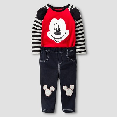 Disney® Mickey Mouse Baby Boys' Top and Bottom Set - Red 0-3M