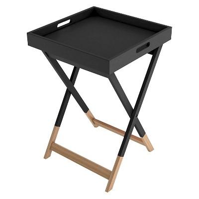 Wood Tray Side Table - Black - Dar