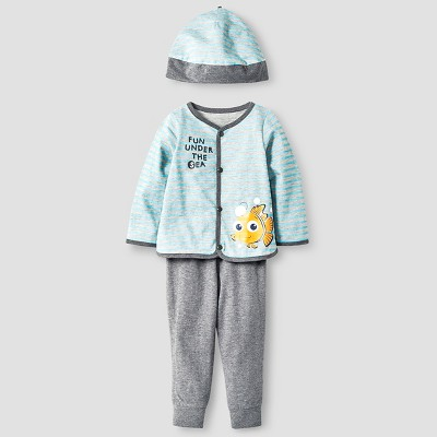 Disney® Nemo Baby Boys' 4 Piece Bodysuit, Bib, Hat & Pant Set - Blue