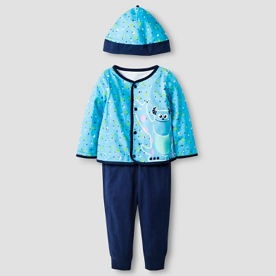 Disney® Monsters Inc. Baby Boys' 4 Piece Bodysuit, Bib, Hat & Pant Set - Blue
