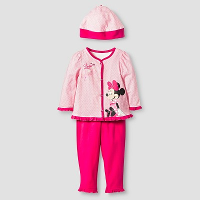 Disney® Minnie Mouse Baby Girls' 4 Piece Bodysuit, Bib, Hat & Pant Set - Pink