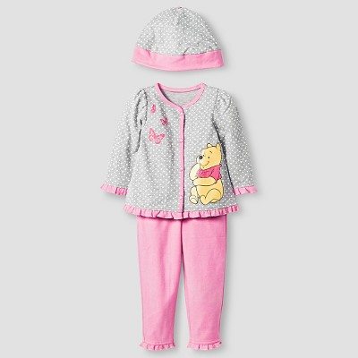 Disney® Pooh Baby Girls' 4 Piece Bodysuit, Bib, Hat & Pant Set - Pink