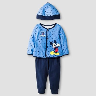 Disney® Mickey Mouse Baby Boys' 4 Piece Bodysuit, Bib, Hat & Pant Set - Blue
