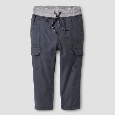 Baby Boys' Fleece-Lined Cargo Pant - Charcoal Gray 12 M - Baby Cat & Jack™