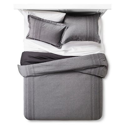 Arrow Embroidered Chambray Comforter Set (King) Grey - Threshold™