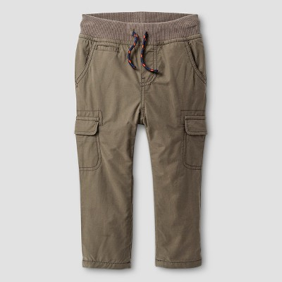 Baby Boys' Fleece-Lined Cargo Pant - Olive Green 12 M - Baby Cat & Jack™