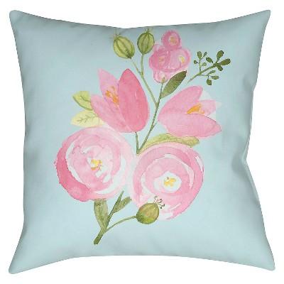 "Surya Budding Bloom Pillow - Blue (18"" x 18"")"
