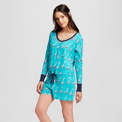 Nite Nite Munki Munki® Women's Giraffe Scooters Pajamas Romper - Turquoise XL