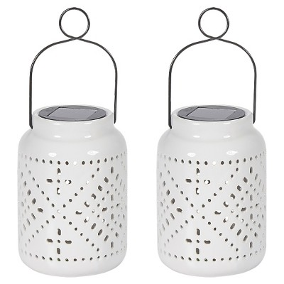 "Smart Solar Tangiers Ceramic Solar Jar 2 Piece - White (7.5"")"