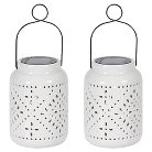 Smart Solar Tangiers Solar Ceramic Lanterns 2 Piece - White