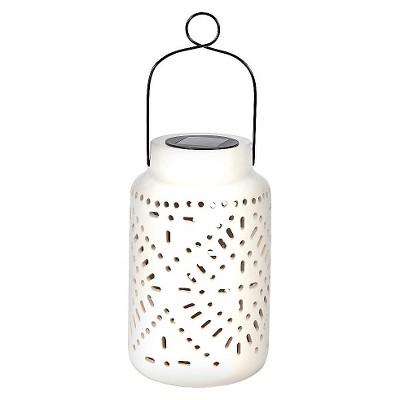 "Smart Solar Tangiers Ceramic Solar Jar - White (11"")"