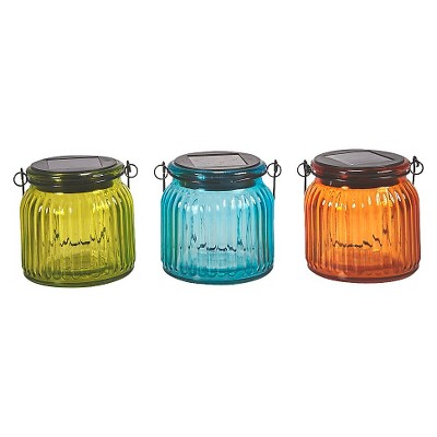 Smart Solar Hanging Solar Glass Jars Set of 3 - Multi-Colored